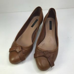 Zara Basic Tan Leather Classic Kitten Heel